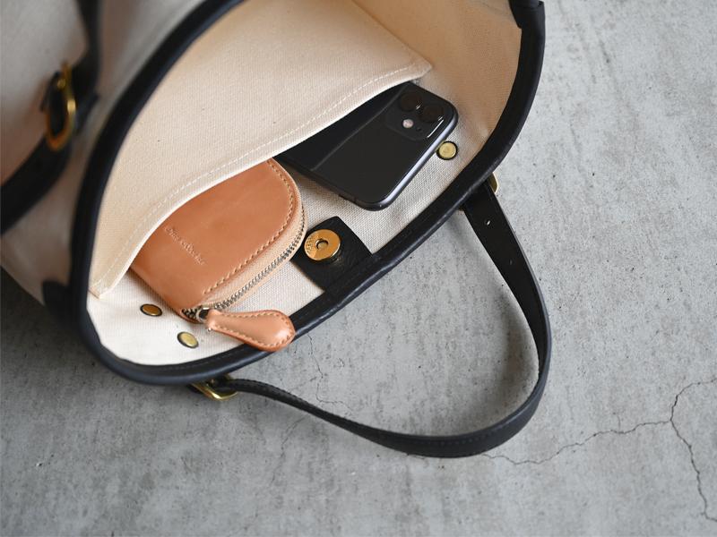 帆布と革のミニマルトートバッグ CPTB-02